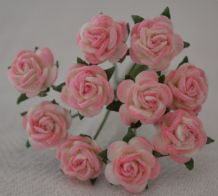 1 cm BABY PINK Mulberry Paper Roses